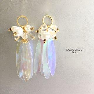 2pcs★clear cute fleur・ pearl