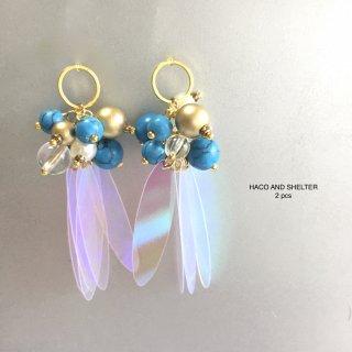 2pcs★clear cute fleur・turquoise