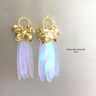2pcs★clear cute fleur・gold