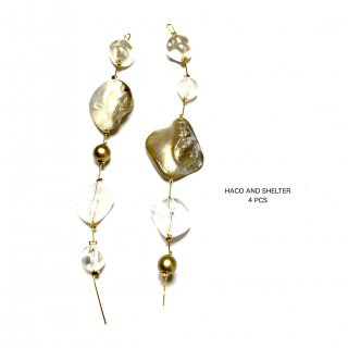 4pcs★shell・pearl・clear branch