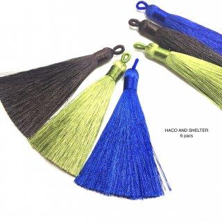 6pcs★long volume tassel・earth color size75mm~