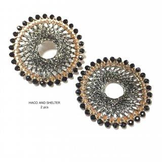 【丸カン付】2pcs★jewel lace big ring・black