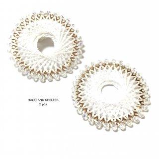 【丸カン付】2pcs★jewel lace big ring・white