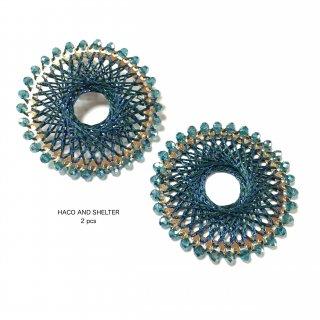 【丸カン付】2pcs★jewel lace big ring・cyan