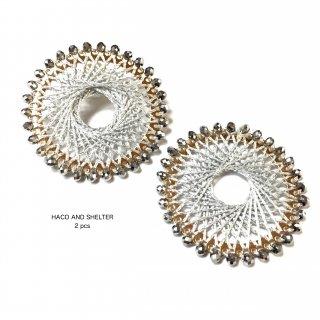 【丸カン付】2pcs★jewel lace big ring・gray