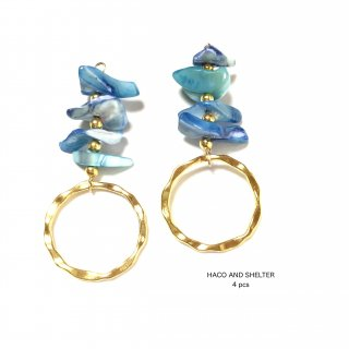 4pcs★shell cyan blue ring