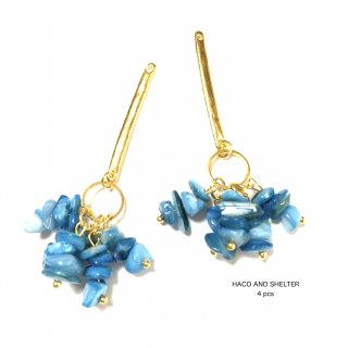 4pcs★petit shell cyan blue hang