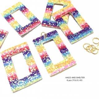 【6pcs・丸カン付】lame rainbow border big hoop charm