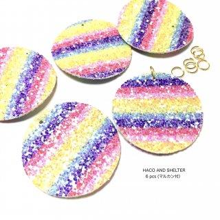 【6pcs・丸カン付】lame rainbow border big charm
