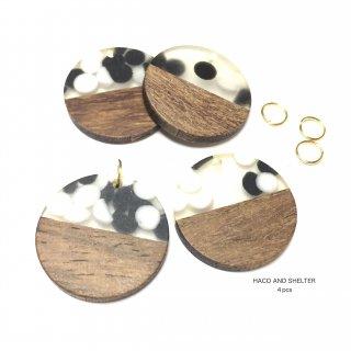 4pcs・丸カン付★dots half wood