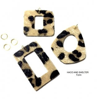 【6pcs・丸カン付】leopard fake leather charm(