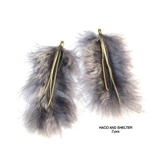 angel big feather+chain★2pcs