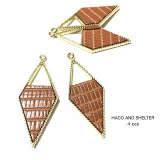4pcs★fakeleather rhombus charm