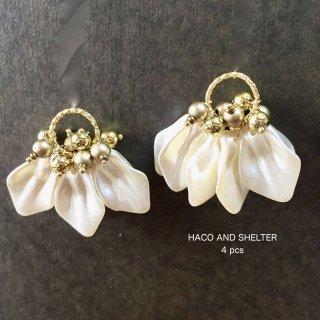 4pcs★ hanabira pearl tassel・gold