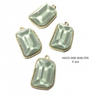 4pcs★clear jelly charm・smoky emerald