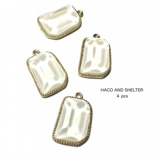 4pcs★clear jelly charm・pearl white
