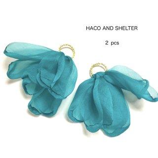 2pcs★chiffon petal tassel・emerald