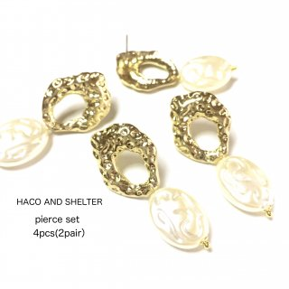 4pcs(2pair)★pierce・oval pearl
