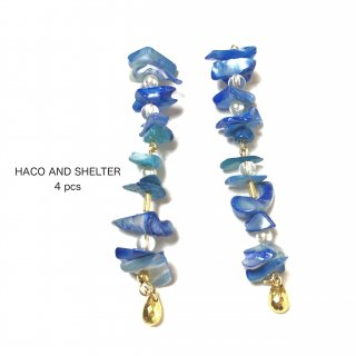 4pcs★petit shell cyan blue swing