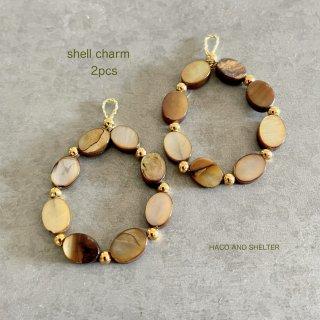 2pcs★shell hoop charm