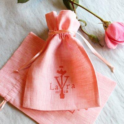 桃色のリネンで作った巾着ポーチ・小