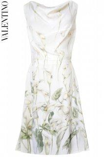 9号【レンタルドレス】PRD CODE:00108 | VALENTINO Calla Lily Print Ivory Silk Dress(ヴァレンティノ ドレス)