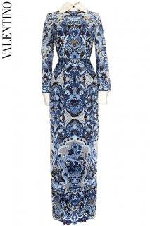 7号【レンタルドレス】Product code:00112 | VALENTINO Blue Embroidered Lace Gown(ヴァレンティノ ブルー 刺繍 ドレス)