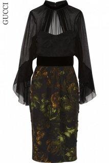 7号【レンタルドレス】Product code:02022 | GUCCI Floral Print Silk and Velvet Dress(グッチ フローラル シルク/ベルベット ドレス)