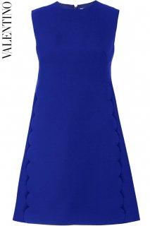 7号【レンタルドレス】PRD CODE:00120 | VALENTINO Royal Blue Scalloped Crew Neck Mini Dress(ヴァレンティノ ドレス)