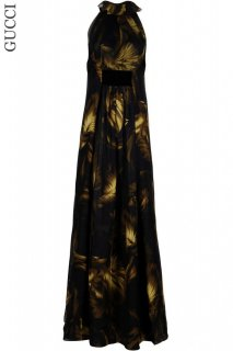 7号【レンタルドレス】Product code:02026 | GUCCI Floral Print Silk and Velvet Long Dress(グッチ フローラル ロングドレス)