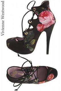25.0cm【レンタルシューズ】Product code:11009 | Vivienne Westwood Scarlet Rose Print Shoes(ヴィヴィアン・ウエストウッド シューズ)
