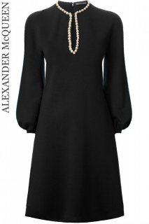 9号【レンタルドレス】Product code:01065 | ALEXANDER McQUEEN Pearl Embroidery Puff Sleeves Dress(マックイーン ドレス)