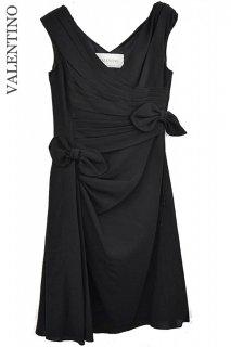 9号【レンタルドレス】Product code:00065 | VALENTINO Asymmetry Black Ribbon Dress(ヴァレンティノ ドレス)