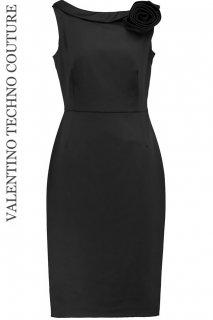 9号【レンタルドレス】Product code:00028 | VALENTINO Boat neck Rosette Dress(ヴァレンティノ ボートネック ローズ ドレス)