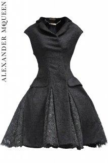 7号【レンタルコートドレス】PRD CODE:01054 | ALEXANDER McQUEEN Lace Paneled Hem Coat Dress(アレキサンダー・マックイーン コートドレス)