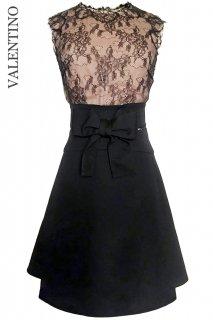 7号【レンタルドレス】Product code:00119 | VALENTINO Waist Ribbon Skirt and Lace Top Dress(ヴァレンティノ レース ドレス)