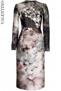 7号■レンタルドレス■Product code:00116| VALENTINO Fluid Garden Floral Print Long Sleeve Dress(ヴァレンティノ 長袖ドレス)
