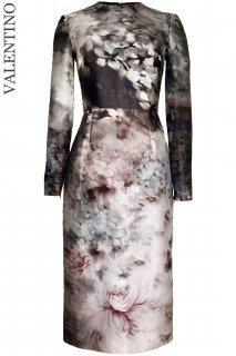 7号【レンタルドレス】Product code:00116 | VALENTINO Fluid Garden Floral Print Long Sleeve Dress(ヴァレンティノ 長袖ドレス)