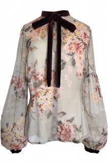 7号(7〜9号)■レンタルドレス■Product code:00004 | VALENTINO ROMA Velvet Bow Tie Floral Chiffon Top(ヴァレンティノ ブラウス)