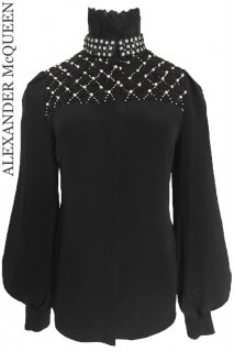 7号【レンタルドレス】Product code:01067 | ALEXANDER McQUEEN Embroidery Puff Sleeve Blouse(アレキサンダー・マックイーン ブラウス)