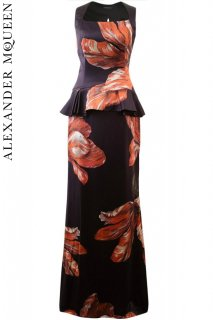 7号【レンタルドレス】PRD CODE:01078 | ALEXANDER McQUEEN Tulip Print Silk Open-Back Gown(アレキサンダー・マックイーン ドレス)