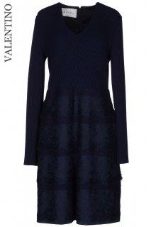 9-11号【レンタルドレス】Product code:00117 | VALENTINO 2012 Navy Tiered Lace Wool Dress(ヴァレンティノ ドレス)