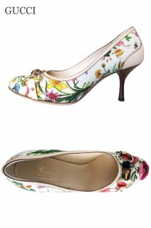 23.5cm【レンタルシューズ】Product code:02015   GUCCI Flora Bamboo Shoes(グッチ パンプス)