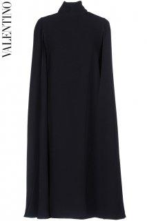 7-9号【レンタルドレス】Product code:00126 | VALENTINO 2017 Navy Silk Crêpe Cape Dress(ヴァレンティノ ドレス)