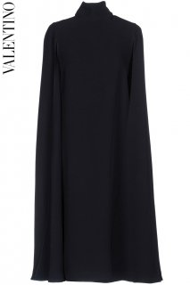 7号【レンタルドレス】PRD CODE:00126 | VALENTINO Navy Blue Knee-Length Silk Crêpe Cape Dress(ヴァレンティノ ドレス)