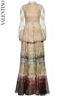 9号【レンタルドレス】PRD CODE:00127 | VALENTINO Angel Wings Print Silk & Lace Gown(ヴァレンティノ ドレス/ウェディングドレス)