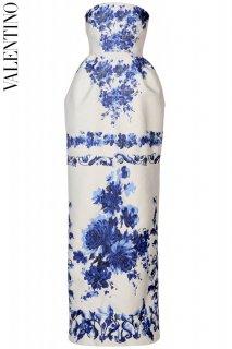 7号【レンタルドレス】PRD CODE:00129 | VALENTINO Royal Blue Floral Jacquard Gown(ヴァレンティノ ドレス/ウェディングドレス)