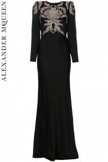 7号【レンタルドレス】PRD CODE:01096 | ALEXANDER McQUEEN Black Embroidered Gown(アレキサンダー・マックイーン ドレス/ウェディングドレス)