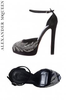 23.5cm【レンタルシューズ】Product code:01094 | ALEXANDER McQUEEN Suede Embroidered Shoes(アレキサンダー・マックイーン シューズ)