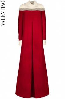 7号【レンタルドレス】Product code:00132 | VALENTINO Wool & Silk Blend Red & Ivory Bicolor Gown(ヴァレンティノ ロングドレス)